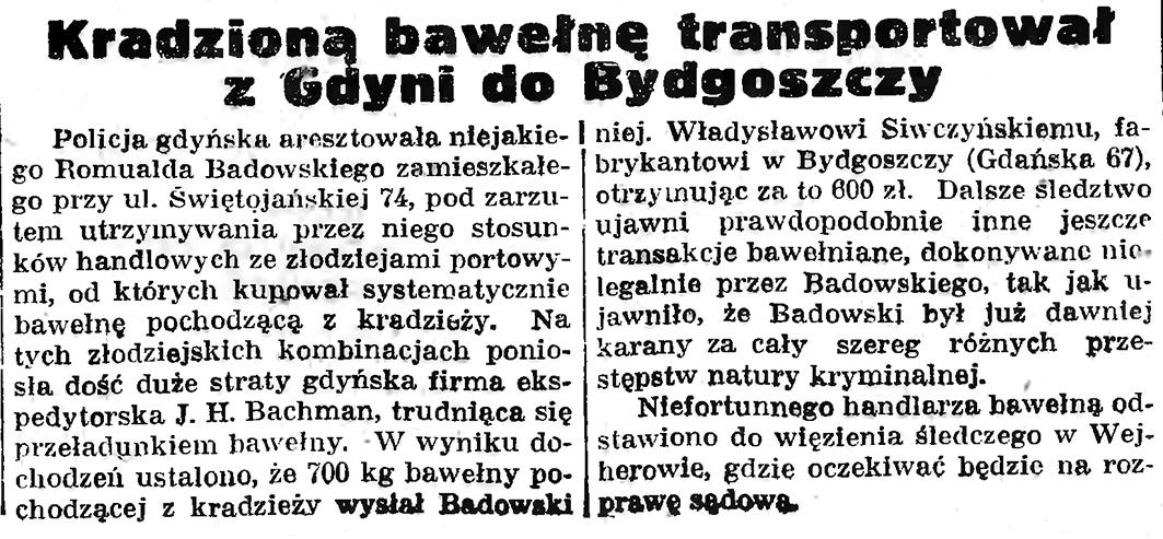 Kradziona bawełnę transportował z Gdyni do Bydgoszczy // Gazeta Gdańska. - 1935, nr 123, s. 7