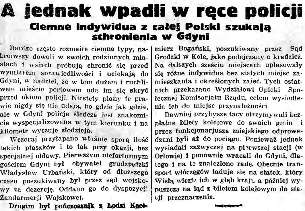 A jednak wpadli w ręce policji. Ciemne indywidua z całej Polski szukają schronienia w Gdyni // Gazeta gdańska. - 1935, nr 126, s. 7