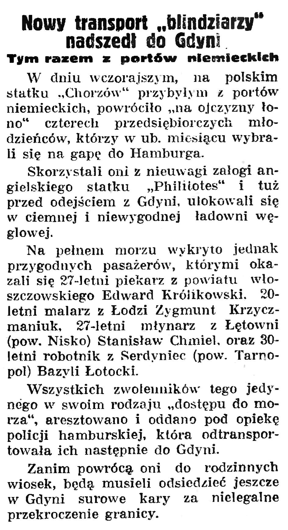 """Nowy transport """"blindziarzy"""" nadszedł do Gdyni. Tym razem z portów niemieckich // Gazeta Gdańska. - 1935, nr 126, s. 7"""