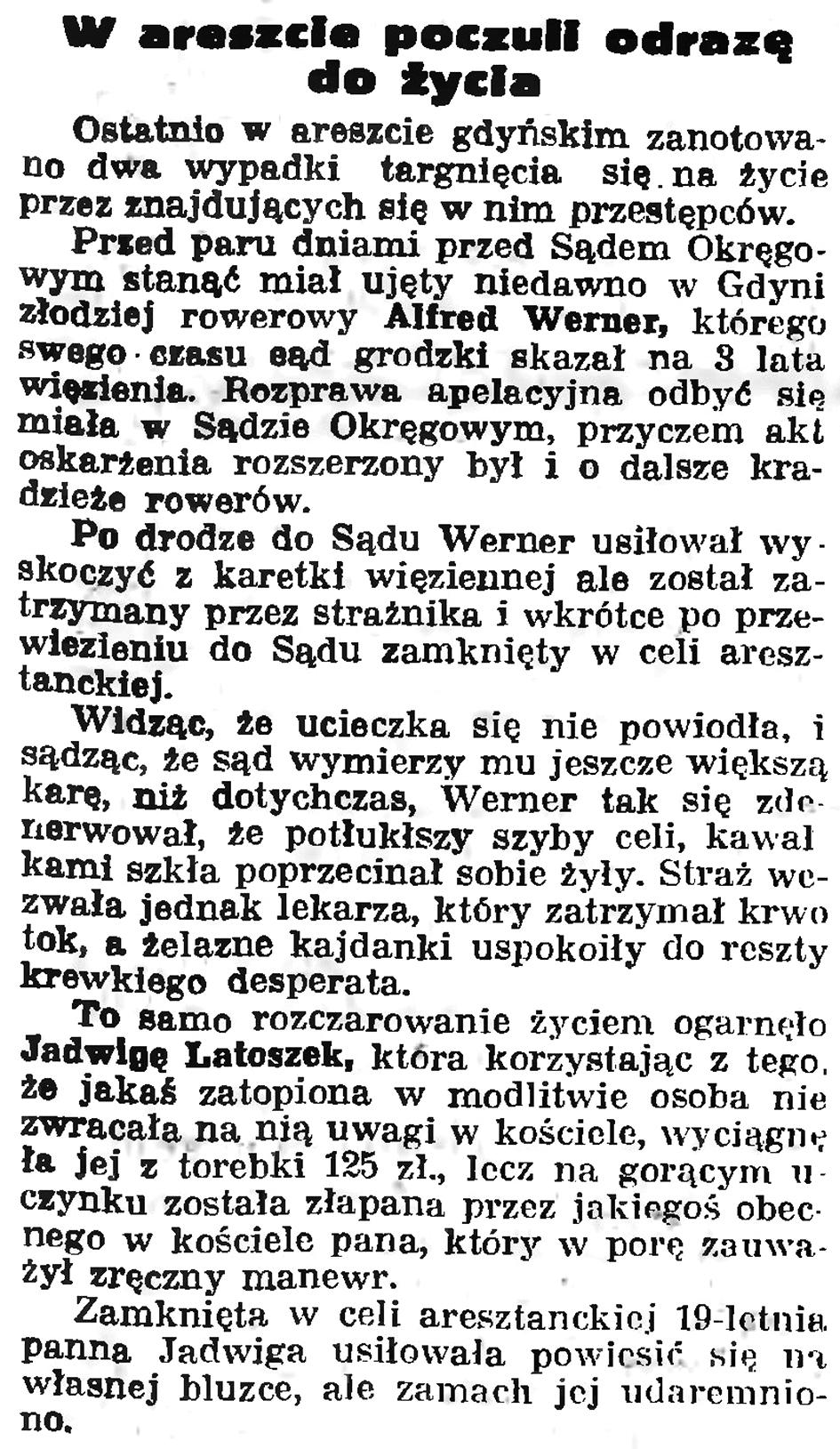 W areszcie poczuli odrazę do życia // Gazeta Gdańska. - 1935, nr 127, s. 2