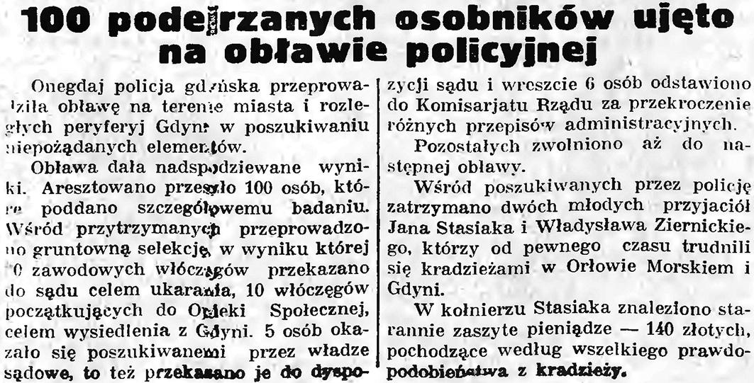 100 podejrzanych osobników ujęto na obławie policyjnej // Gazeta Gdańska. - 1935, nr 174, s. 8