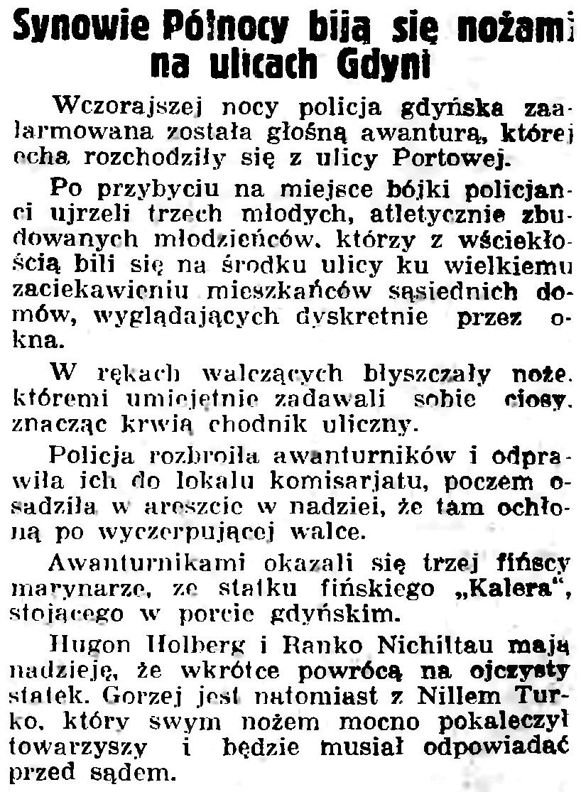 Synowie Północy bija się nożami na ulicach Gdyni // Gazeta Gdańska. - 1935, nr 176, s. 6