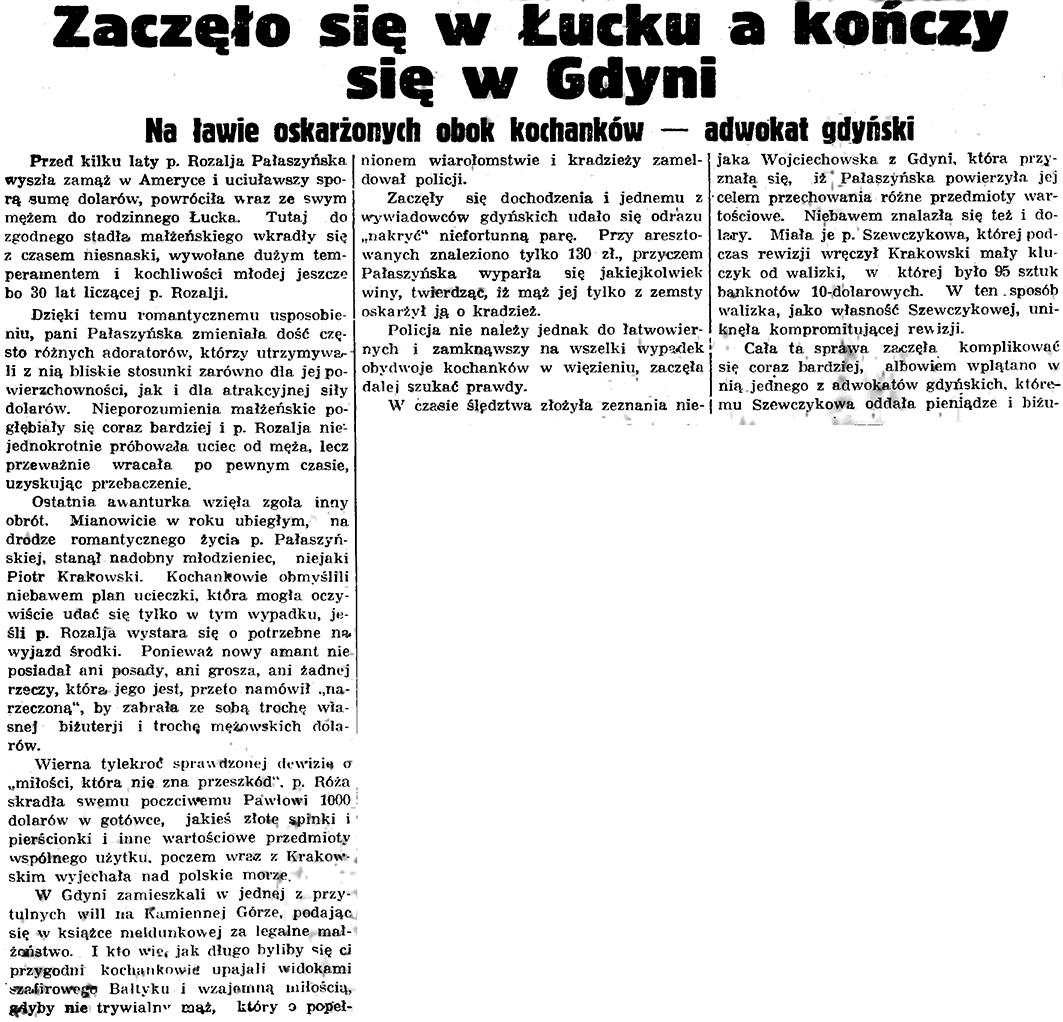 Zaczęło się w Łucku a kończy się w Gdyni. Na ławie oskarżonych obok kochanków - adwokat gdyński // Gazeta Gdyńska. - 1935, nr 182, s. 12
