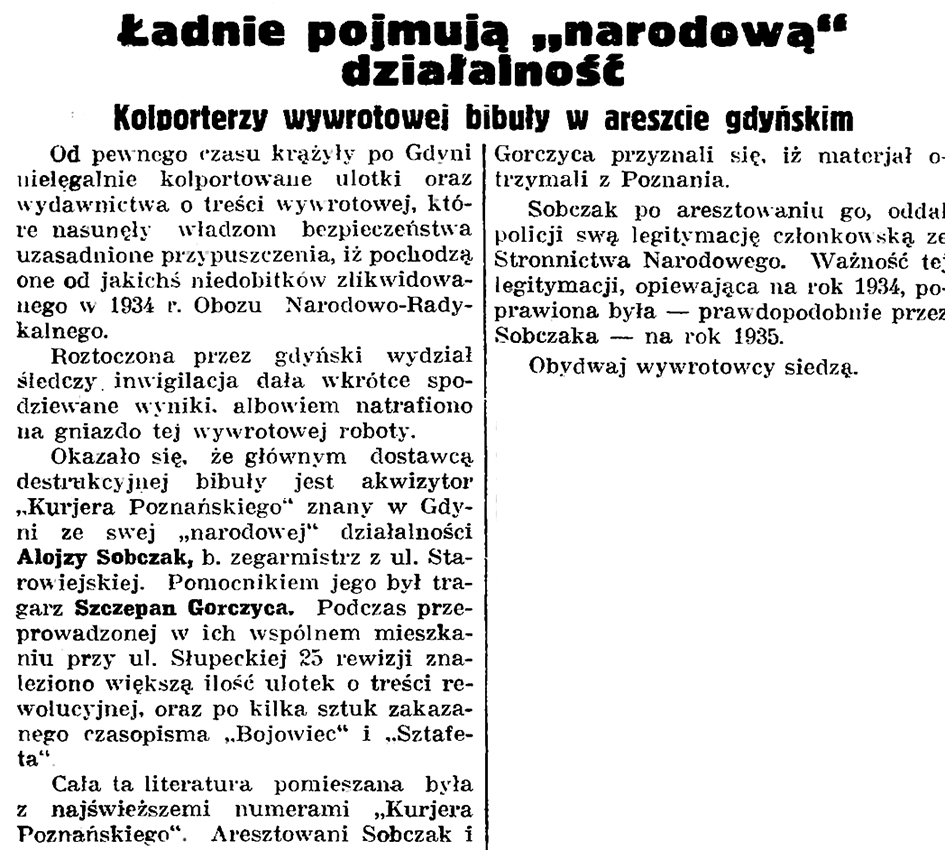 """Ładnie pojmują działalność """"narodową"""". Kolporterzy wywrotowej bibuły w areszcie gdyńskim // Gazeta Gdańska. - 1935, nr 188, s. 8"""