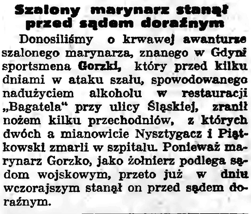 Szalony marynarz stanął przed sądem doraźnym // Gazeta Gdańska. - 1935, nr 254, s. 7