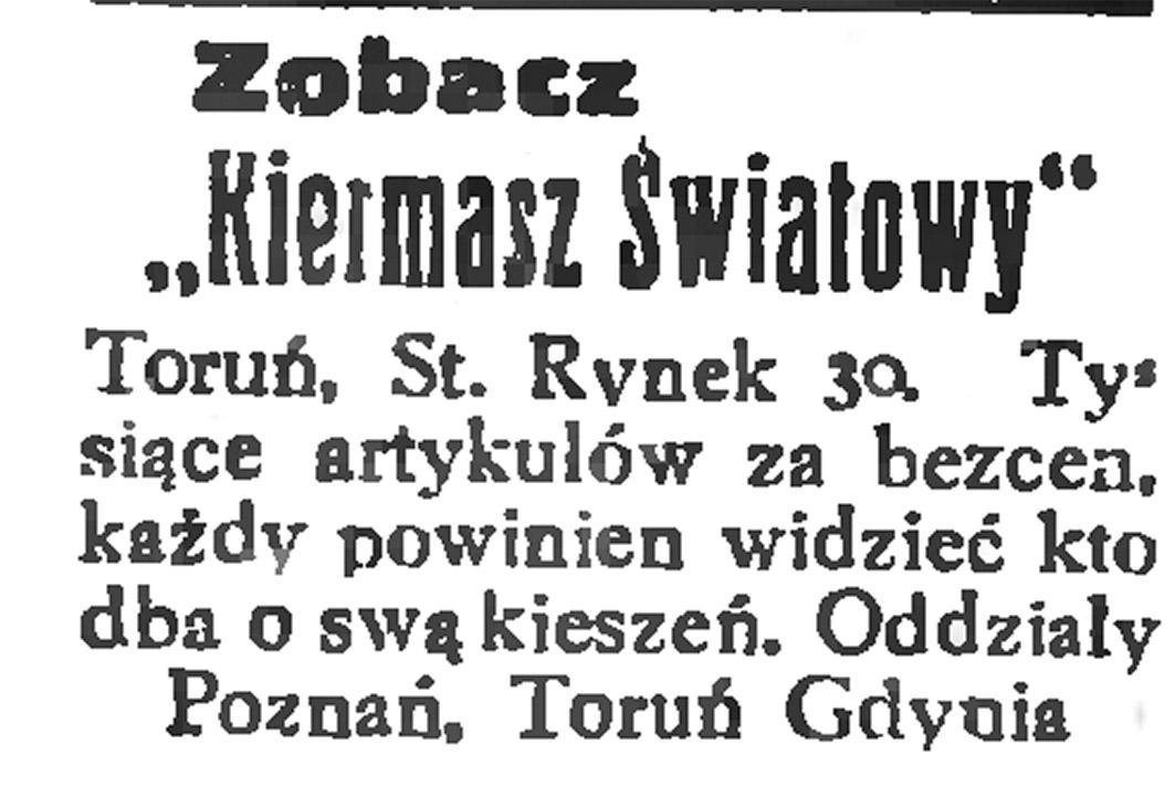 """Zobacz """"Kiermasz Światowy"""" ... Tysiące artykułów za bezcen, każdy powinien wiedzieć kto dba o swą kieszeń. Oddziały Poznań, Toruń, Gdynia"""
