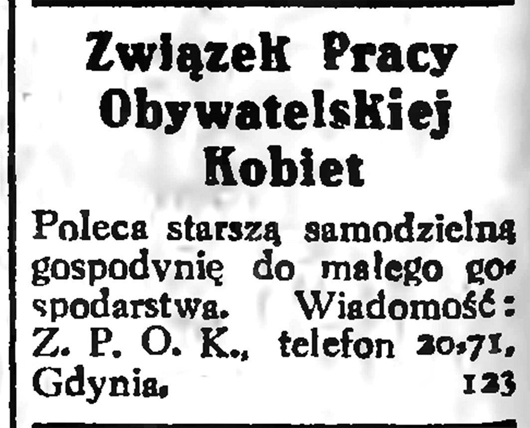 Związek Pracy Obywatelskiej Kobiet   Poleca starszą samodzielną gospodynię do małego gospodarstwa ... // Gazeta Gdańska. - 1935, nr 9, s. 12