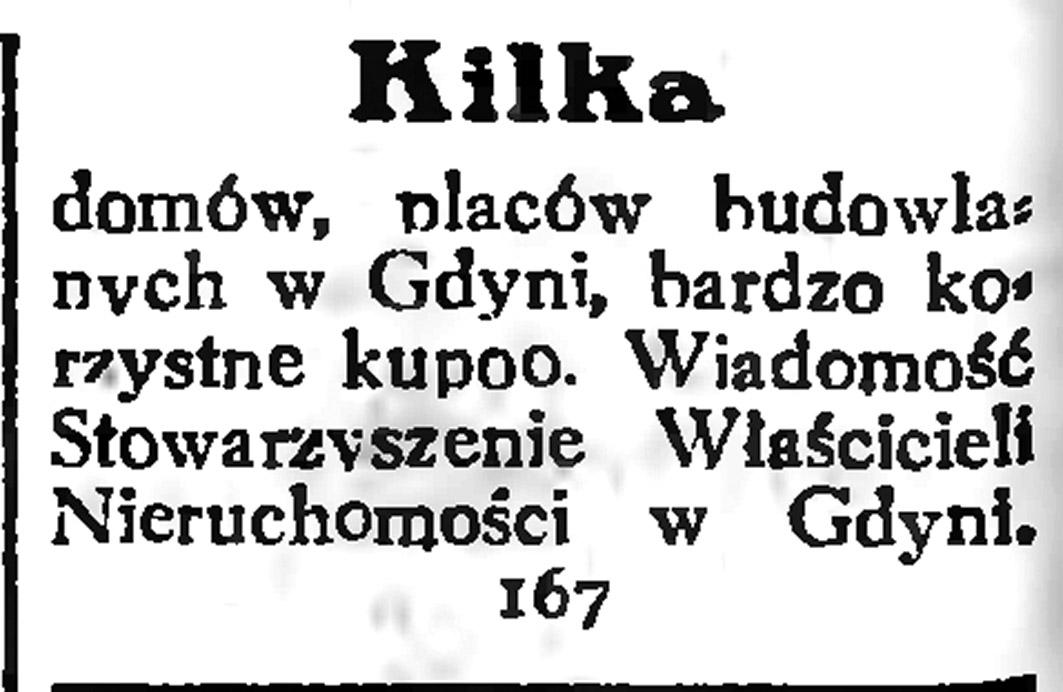 Kilka domów, placów budowlanych w Gdyni, bardzo korzystne kupno. Wiadomość Stowarzyszenie Właścicieli Nieruchomości w Gdyni // Gazeta Gdańska. - 1935, nr 9, s. 12