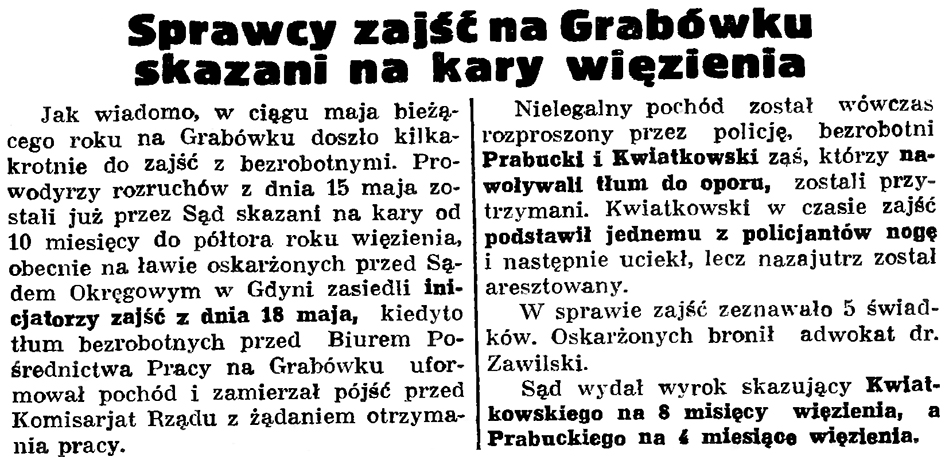 Sprawcy zajść na Grabówku skazani na kary więzienia // Gazeta Gdańska. - 1936, nr 150, s. 7