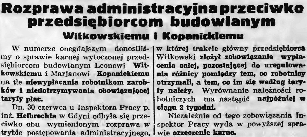 Rozprawa administracyjna przeciwko przedsiębiorcom budowlanym Witkowskiemu i Kopanickiemu // Gazeta Gdańska. - 1936, nr 149, s. 7