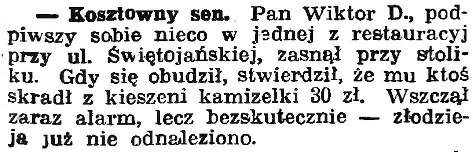 Kosztowny sen // Gazeta Gdańska. - 1936, nr 151, s. 13