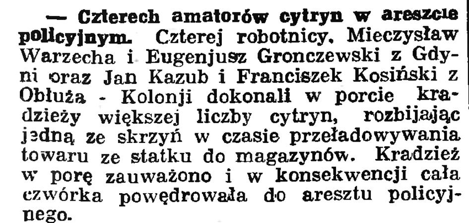 Czterech amatorów cytryn w areszcie policyjnym // Gazeta Gdańska. - 1936, nr 151, s. 13