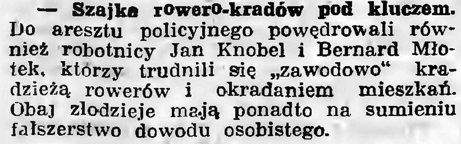 Szajka rowero-kradów pod kluczem // Gazeta Gdańska. - 1936, nr 151, s. 13