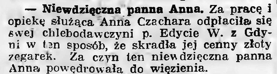 Niewdzięczna panna Anna // Gazeta Gdańska. - 1936, nr 151, s. 13