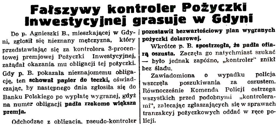 Fałszywy kontroler Pożyczki Inwestycyjnej grasuje w Gdyni // Gazeta Gdańska. - 1936, nr 151, s. 13