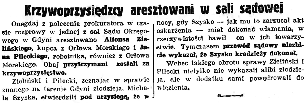 Krzywoprzysiędzcy aresztowani w sali sądowej // Gazeta Gdańska. - 1936, nr 151, s. 13