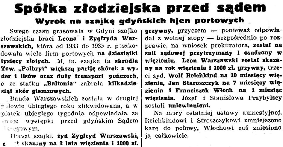 Spółka złodziejska przed sądem. Wyrok na szajkę gdyńskich hjen portowych // Gazeta Gdańska. - 1939, nr 152, s. 6