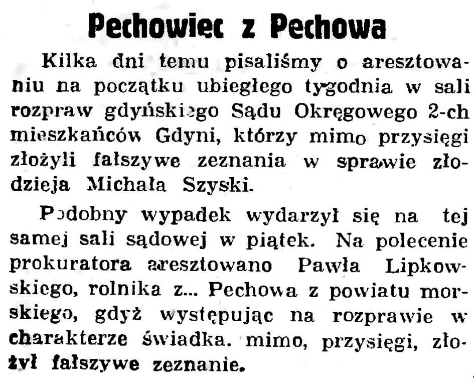 Pechowiec z Pechowa // Gazeta Gdańska. - 1936, nr 152, s. 6