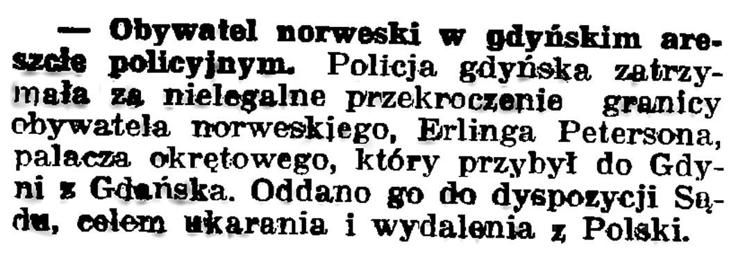 Obywatel norweski w gdyńskim areszcie // Gazeta Gdańska. - 1936, nr 175, s. 5