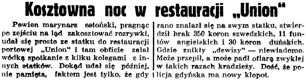 """Kosztowna noc w restauracji """"Union"""" // Gazeta Gdańska. - 1936, nr 175, s. 5"""