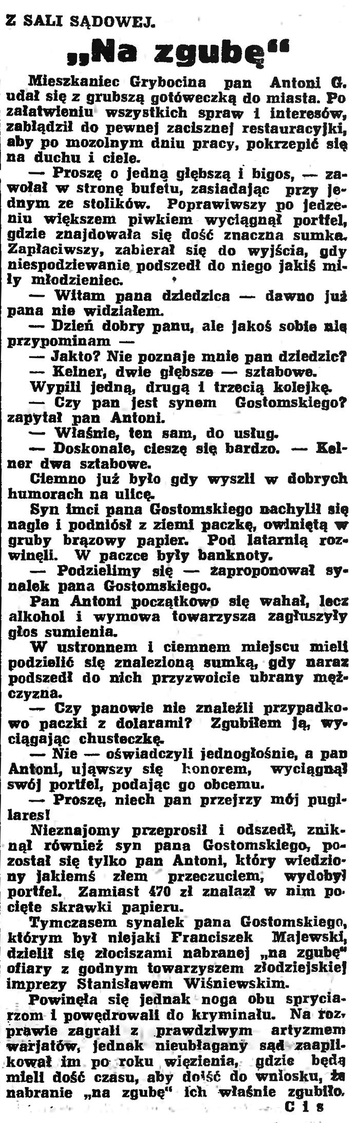 """""""Na zgubę"""". Z sali sądowej // Gazeta Gdańska. - 1936, nr 179, s. 4"""