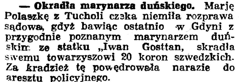 Okradła marynarza duńskiego // Gazeta Gdańska. - 1936, nr 180, s. 4