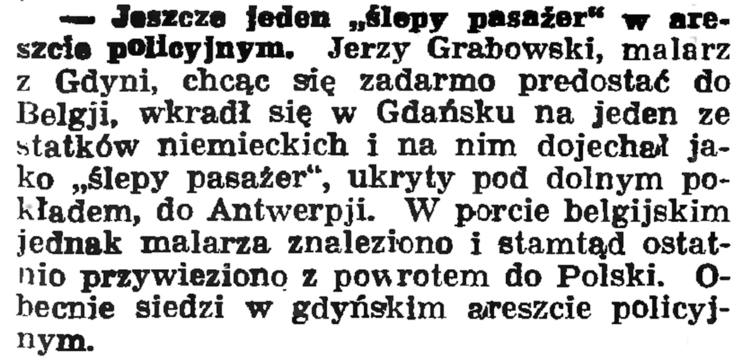 """Jeszcze jeden """"ślepy pasażer"""" w areszcie policyjnym // Gazeta Gdańska. - 1936, nr 180, s. 4"""
