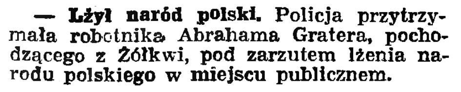 Lżył naród polski // Gazeta Gdańska. - 1936, nr 180, s. 4