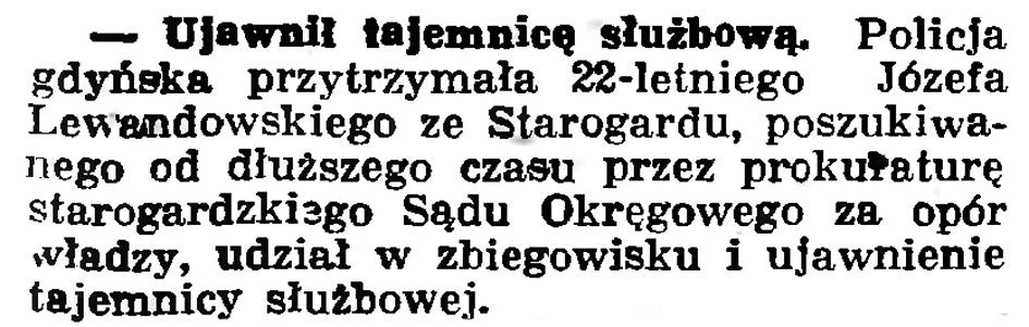 Ujawnił tajemnicę służbową // Gazeta Gdańska. - 1936, nr 180, s. 4
