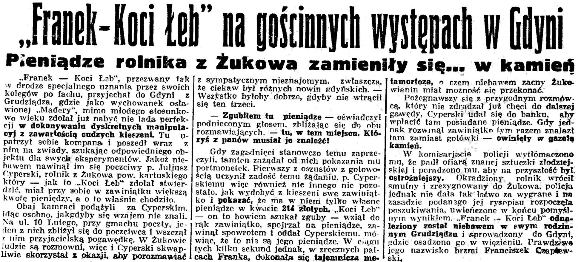"""""""Franek - Koci Łeb"""" na gościnnych występach w Gdyni. Pieniądze rolnika z Żukowa zamieniły się ... w kamień // Gazeta Gdańska. - 1935., nr 89, s. 8"""