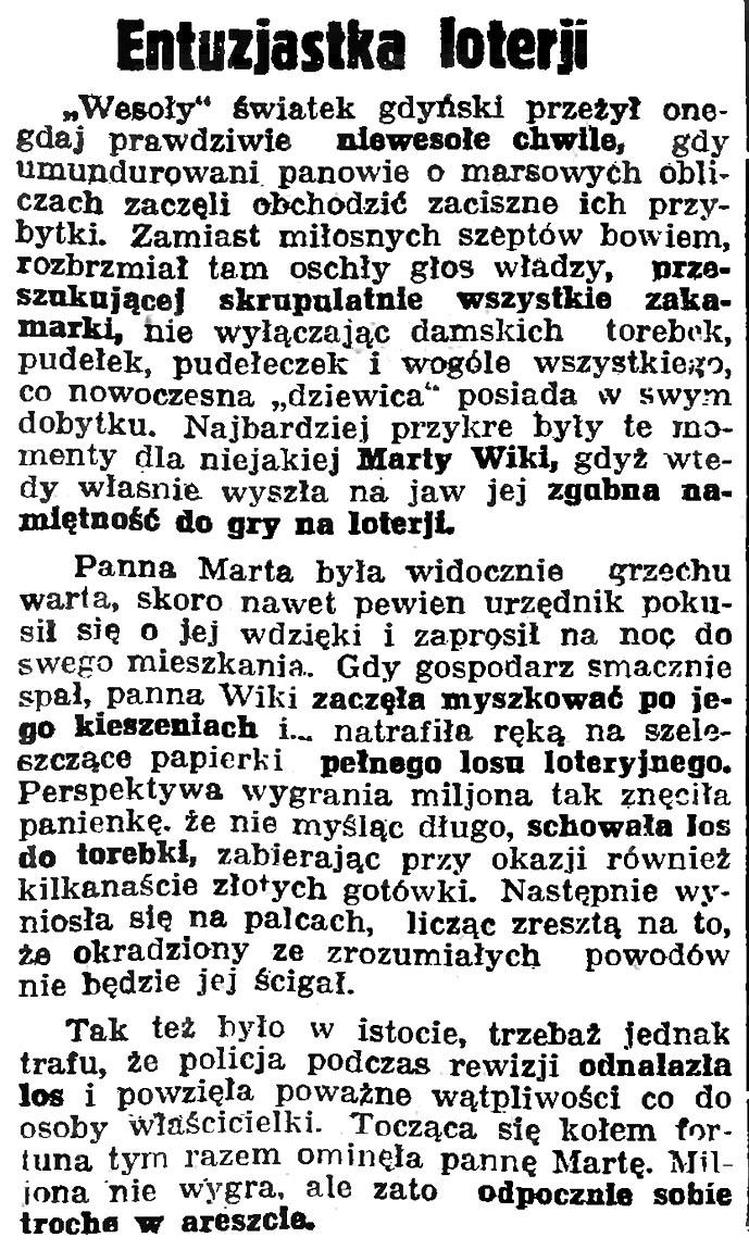 Entuzjastka loterji // Gazeta Gdańska. - 1936, nr 93, s. 9