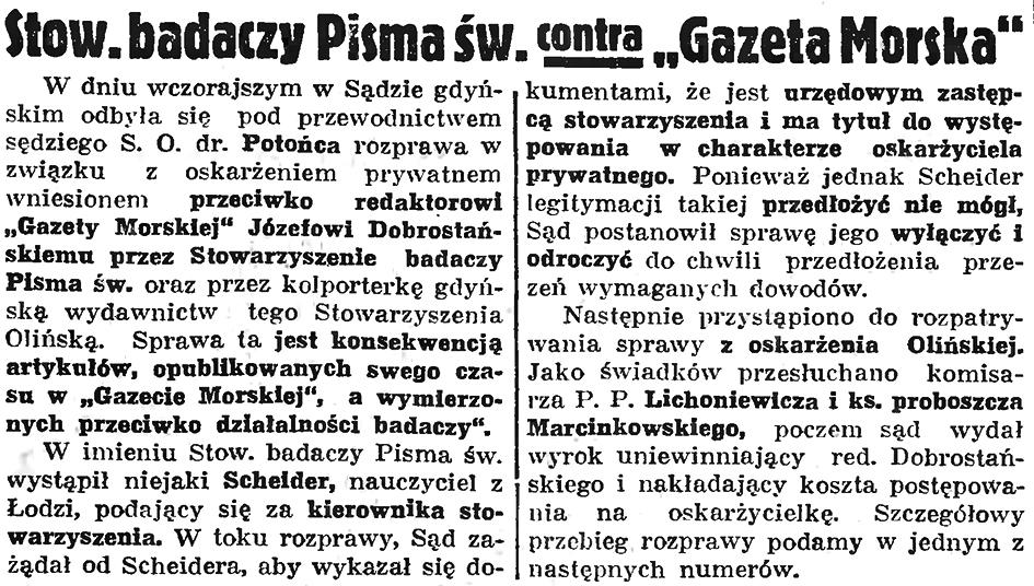 """Stow. badaczy Pisma św. contra """"Gazeta Morska"""" // Gazeta Gdańska. - 1936, nr 149, s. 7"""