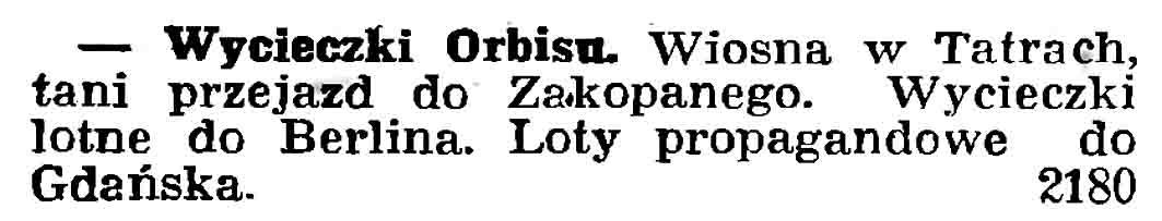 Wycieczki Orbisu // Gazeta Gdańska. - 1937, nr 101, s. 13