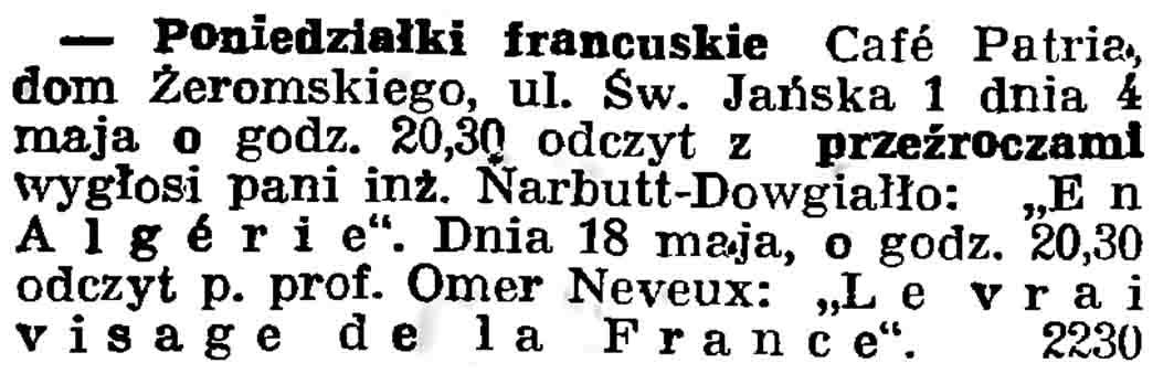 Poniedziałki francuskie // Gazeta Gdańska. - 1937, nr 101, s. 13