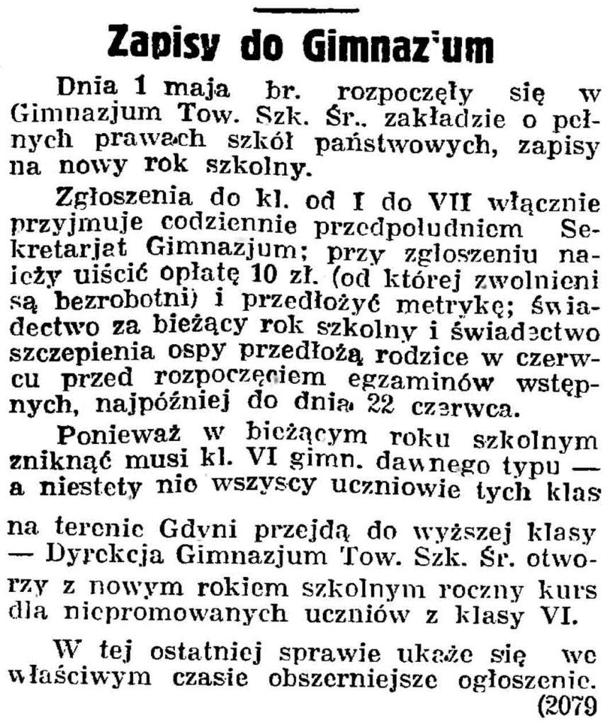 Zapisy do gimnazjum // Gazeta Gdańska. - 1937, nr 101, s. 13
