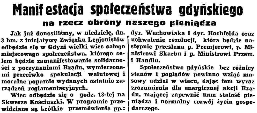 Manifestacja społeczeństwa gdyńskiego na rzecz obrony naszego pieniądza // Gazeta Gdańska. - 1937, nr 101, s. 13