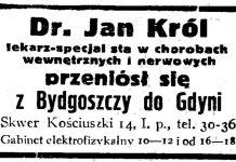 Dr. Jan Król lekarz-specjalista w chorobach wewnętrznych i nerwowych przeniósł się z Bydgoszczy do Gdyni Skwer Kościuszki 14 ...