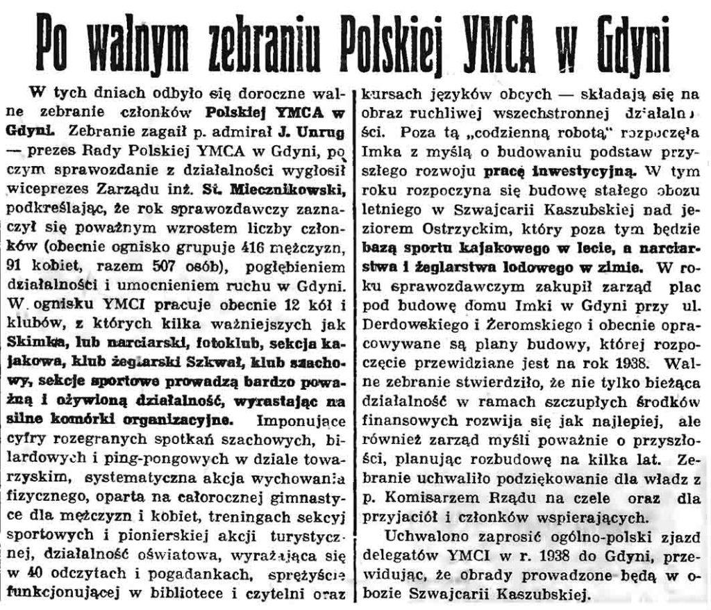 Po walnym zebraniu Polskiej YMCA w Gdyni // Gazeta Gdańska. - 1937, nr 104, s. 6