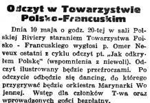 Odczyt w Towarzystwie Polsko-Francuskim // Gazeta Gdańska. - 1937, nr 104, s. 6