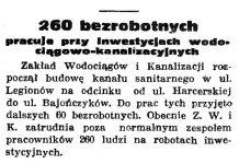 260 bezrobotnych pracuje przy Inwestycjach wodociągowo-kanalizacyjnych // Gazeta Gdańska. - 1937, nr 104, s. 6