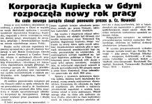 Korporacja Kupiecka w Gdyni rozpoczęła nowy rok pracy. Na czele nowego zarządu stanął ponownie prezes p. Cz. Nowacki // Gazeta Gdańska. - 1937, nr 124, s. 8