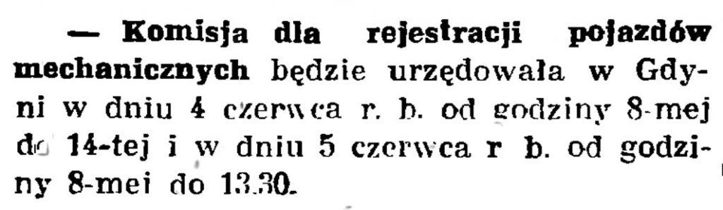 Komisja dla rejestracji pojazdów mechanicznych // Gazeta Gdańska. - 1938, nr 124, s. 8