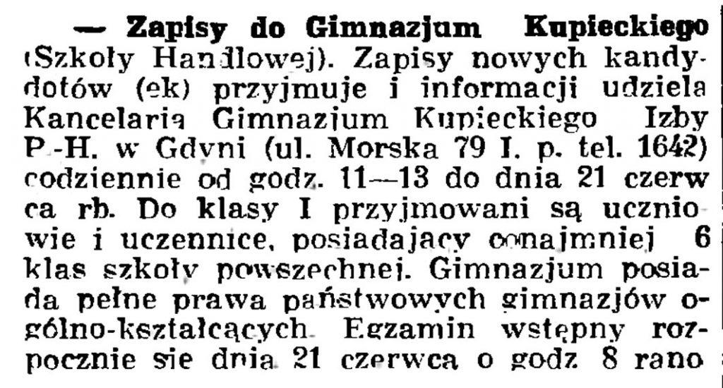 Zapisy do Gimnazjum Kupieckiego (Szkoły Handlowej) // Gazeta Gdańska. - 1938, nr 124, s. 8