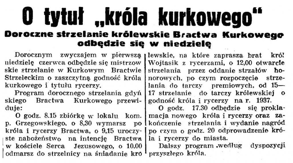 """O tytuł """"króla kurkowego"""". Doroczne strzelanie królewskie Bractwa Kurkowego odbędzie się w niedzielę // Gazeta Gdańska. - 1938, nr 124, s. 8"""