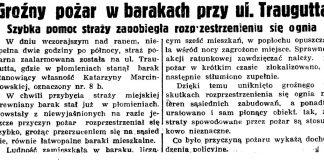 Groźny pożar w barakach przy ul. Traugutta. Szybka pomoc straży zapobiegła rozprzestrzenieniu się ognia // Gazeta Gdańska. - 1938, nr 124, s. 8