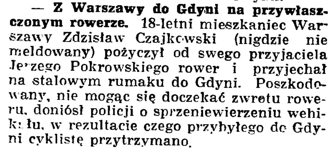 Z Warszawy do Gdyni na przywłaszczonym rowerze // Gazeta Gdańska. - 1937, nr 153, s. 8