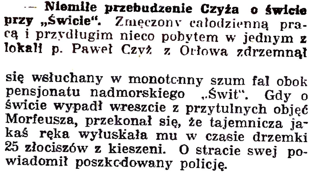 """Niemiłe przebudzenie Czyża o świcie przy """"Świcie"""" // Gazeta Gdańska. - 1937, nr 153, s. 8"""