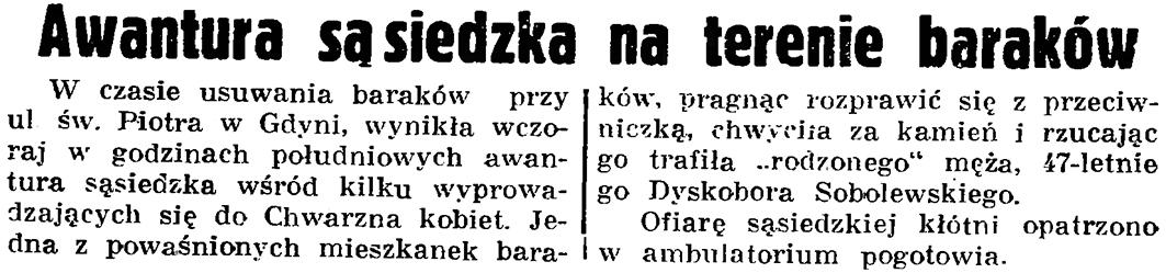 Awantura sąsiedzka na terenie baraków // Gazeta Gdańska. - 1937, nr 153, s. 8