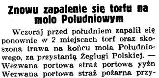 Znowu zapalenie się torfu na molo Południowym // Gazeta Gdańska. - 1937, nr 153, s. 9