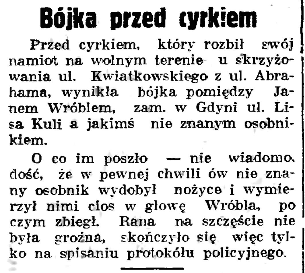 Bójka przed cyrkiem // Gazeta Gdańska. - 1937, nr 183, s. 8